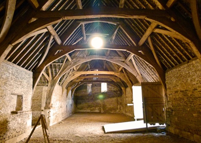 Inside Lackock's 14th century tithe barn