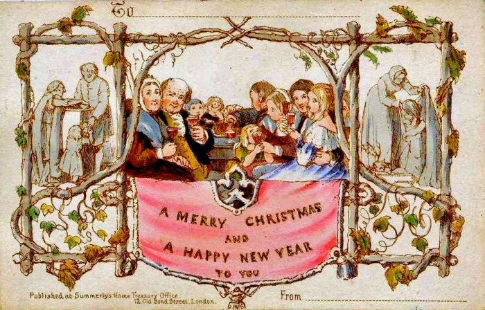The first Christmas card, devised by Sir Henry Cole, drawn by John Horsley