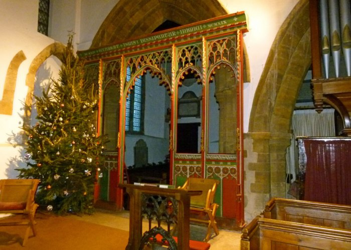 All Saints', Brixworth. Relocated medieval rood screen