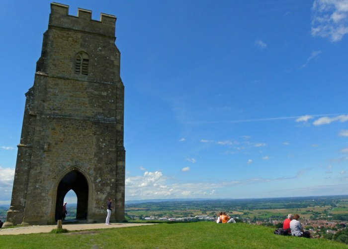 St Michael's, top of Glastonbury Tor, views, Somerset