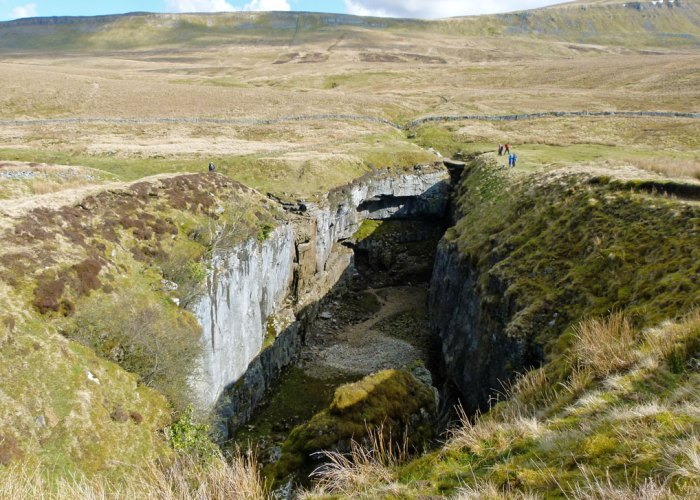 Hull Pot, collapsed cave, North Yorkshire, Dales