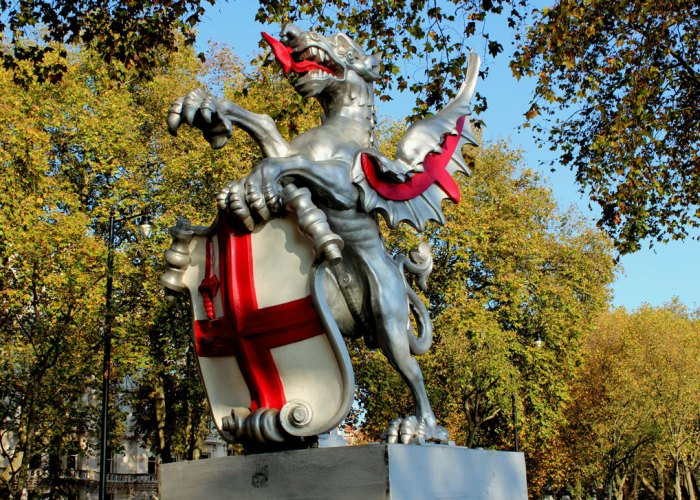 Dragons with the cross of St George guard the City of London