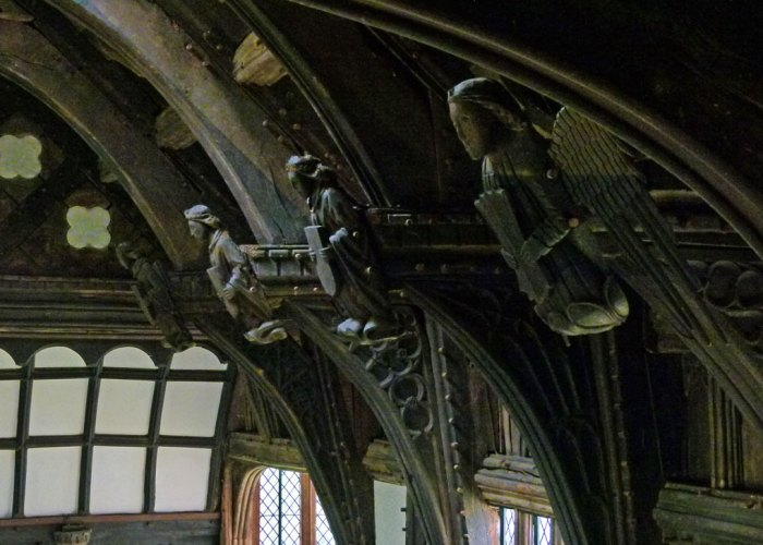 Rufford Old Hall - the decorated roof supports