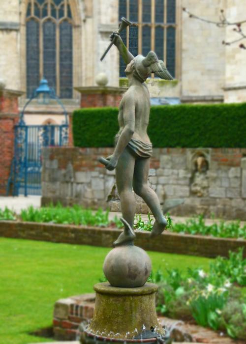 Treasurers' House, York, statue, garden