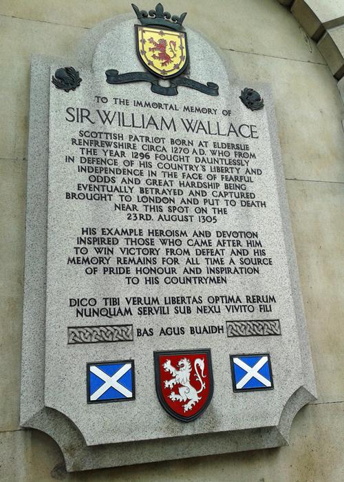 Wallace memorial, Smithfield, London, text