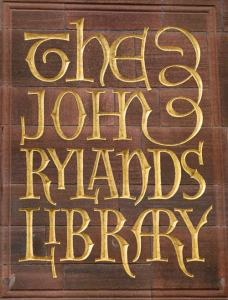 The John Rylands Library, sign