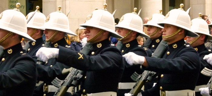 Royal Marines, march past