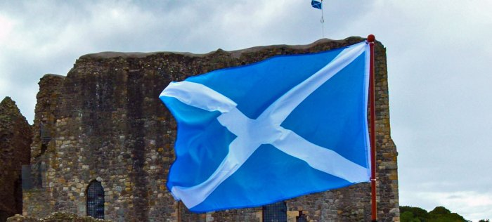 St Andrew, Saltire at Dundonald Castle