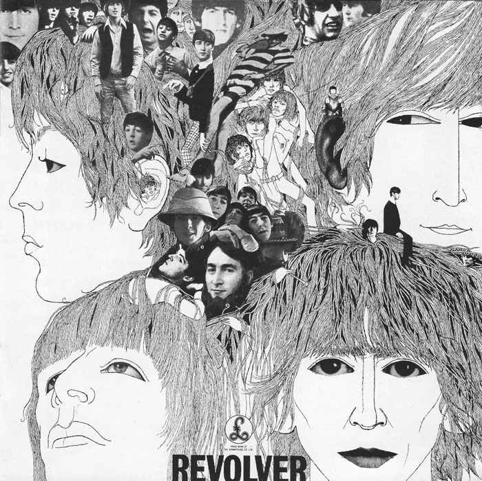 Revolver, released in 1966. Album artwork by Klaus Voormann. Eleanor Rigby is the 2nd track.