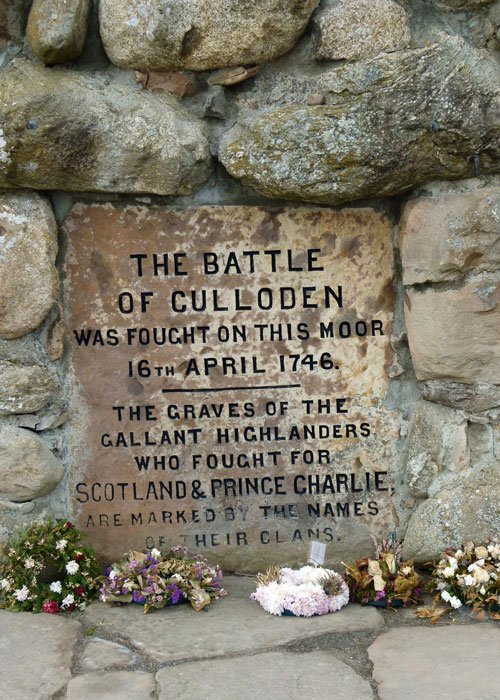 Culloden, memorial cairn, inscription