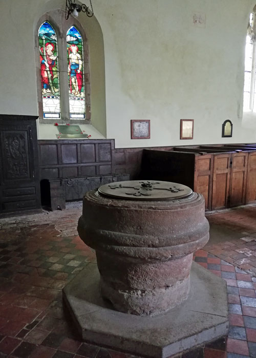St Andrews, Wroxeter - font fashioned from a Roman column