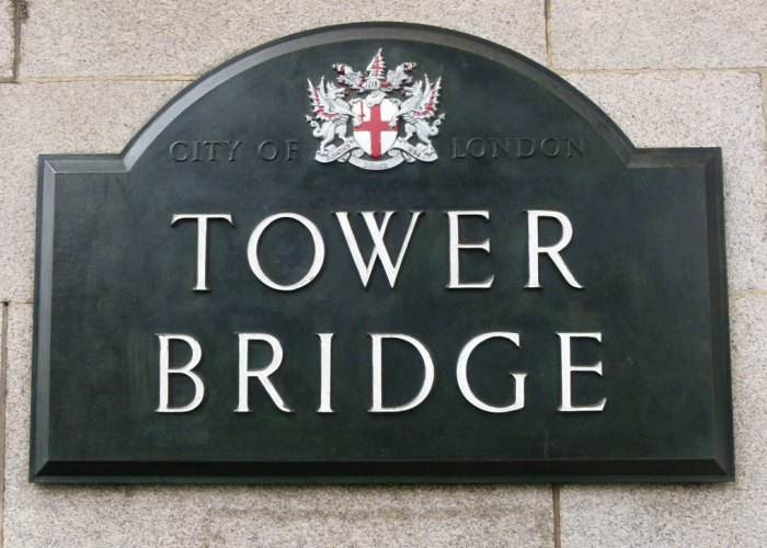 Sign for Tower Bridge