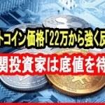ビットコイン価格「22万から強く反発」機関投資家は底値を待つ:元ゴールドマン・サックス幹部【仮想通貨】
