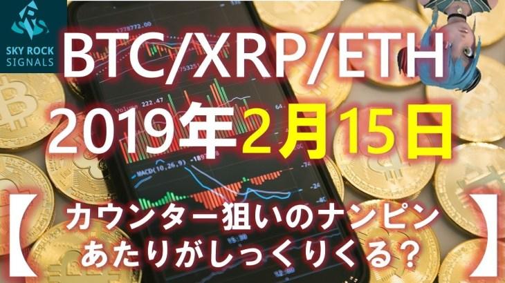 【XRP/BTC/ETH】リップルとビットコインたちはどうなる?2月15日の予想&ふり返り カウンター狙いのXRPナンピンがしっくりくる?
