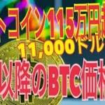 仮想通貨:ビットコイン115万円(11000ドル)超え! 偶然見つけたXRP(リップル)との不思議な相関性解説と、来週以降のBTC価格はどうなる?【暗号資産】