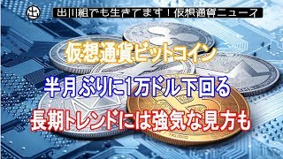 仮想通貨ビットコイン、半月ぶりに1万ドル下回る 長期トレンドには強気な見方も【仮想通貨・暗号資産】
