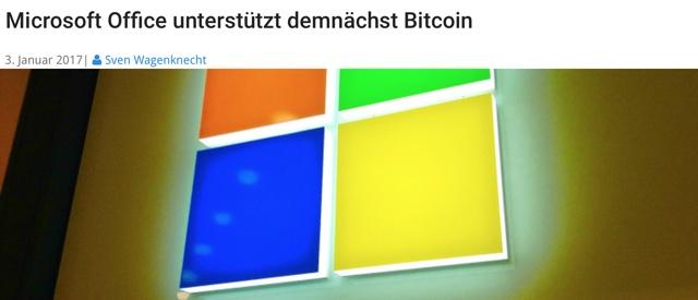 Microsoft unterstützt Bitcoin