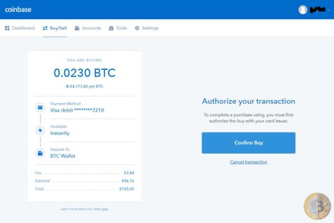 Coinbase Authorize Transaction (Image: Bitcoin Investors UK)