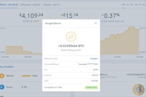 Review Coinbase Transaction (Image: Bitcoin Investors UK)