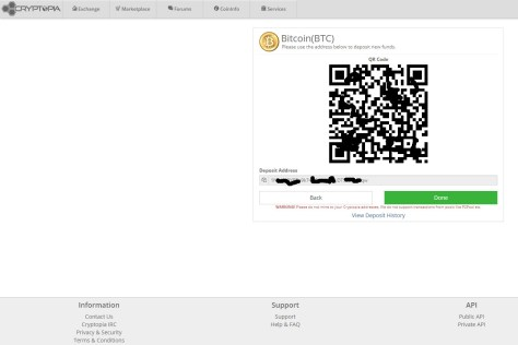 Depositing Bitcoin to Cryptopia (Image: Bitcoin Investors UK)