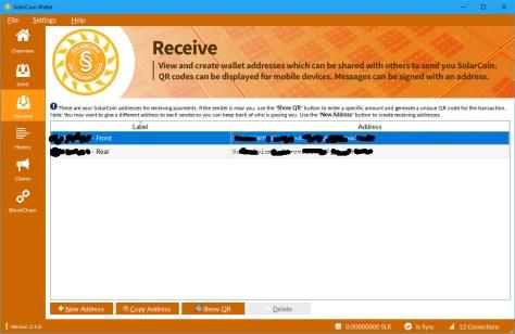 SolarCoin Wallet Receive screen (Image: Bitcoin Investors UK)