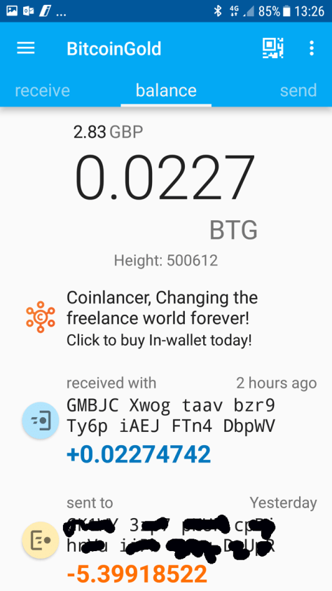 Coinomi screen BTG received (Image: BIUK)