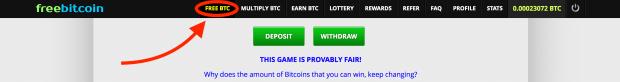 Navigation von Freebitco.in - dort verdient man gratis Bitcoins