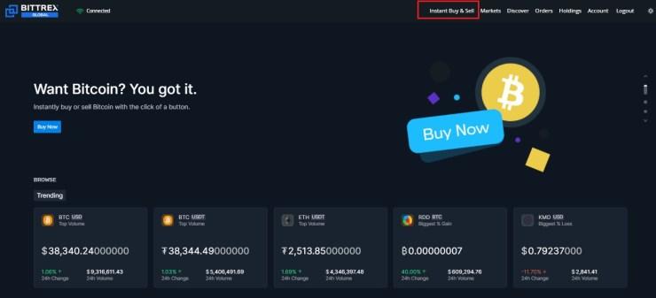 Buy Bitcoin on Bittrex