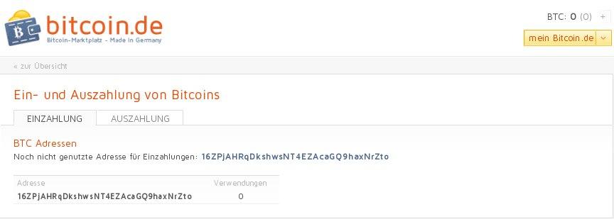 bitcoin.de Einzahlung