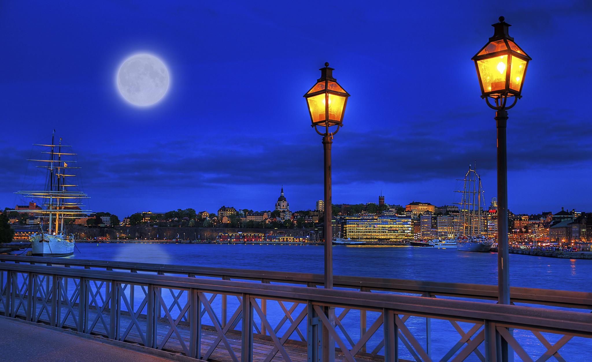 spring moon over Stockholm