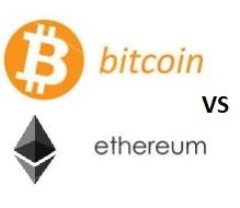 Tableau des prix Bitcoin versus Ethereum