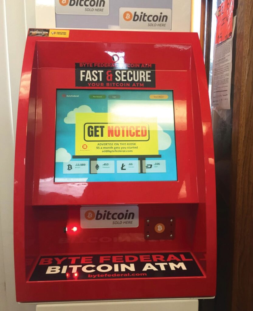 A ByteFederal Bitcoin ATM. The company manufactures and operates Bitcoin ATMs across Florida and in 14 other states at local businesses such as Down T Liquor in Fort Myers, Fire Vape Smoke Shop in West Palm Beach, Friendly Market in Naples and PGI Liquors in Punta Gorda. EVAN WILLIAMS / FLORIDA WEEKLY