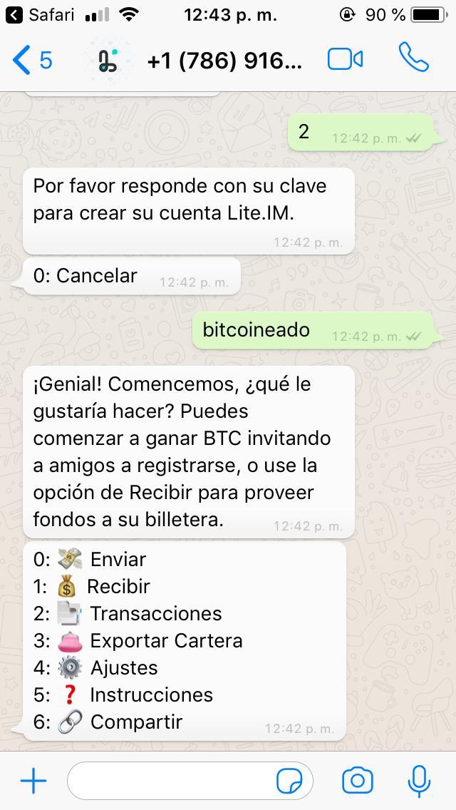 Envía y recibe Bitcoin en WhatsApp con Lite IM - Bitcoineado