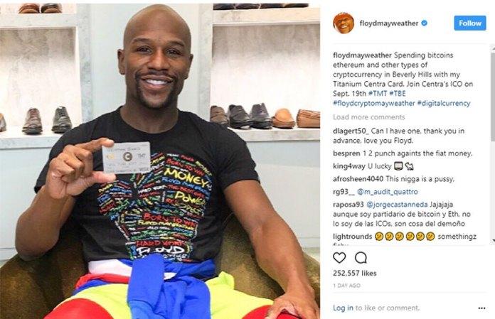 Floyd Mayweather Instagram Cryptocurrency ICO Titanium Centra Card
