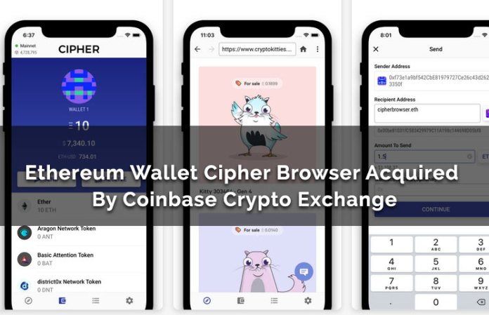 Ethereum Wallet Cipher Browser Acquired By Coinbase Crypto Exchange