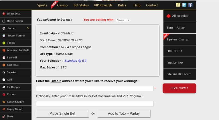 DirectBet Wager Window