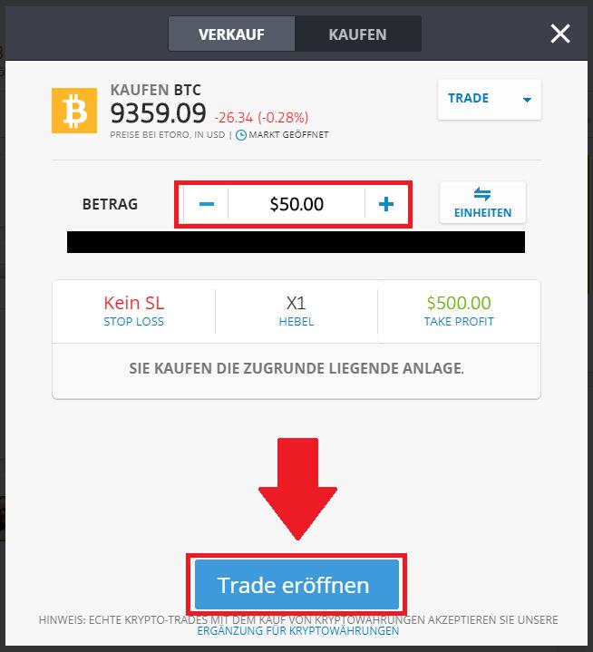 Bitcoin Kauf bei eToro