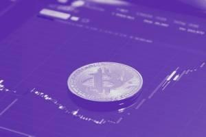 Bitcoin Kurs Analyse - BTC Münze auf Candle Chart Abbildung, die Bitcoin Kurs zeigt