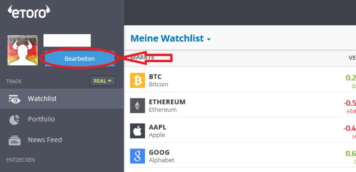 Auf eToro Bitcoin kaufen Schritt 1