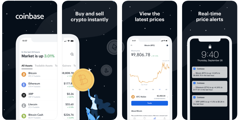Coinbase screenshots app