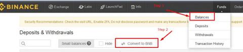 Convert to BNB button