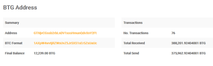Suspected hacker's BTG (Bitcoin Gold) address