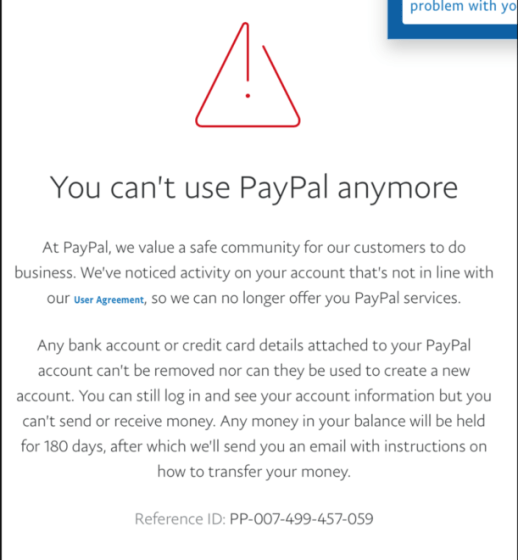 Robinson's PayPal notification