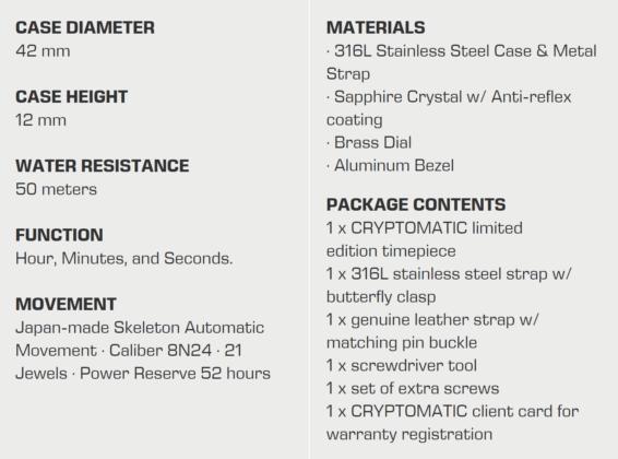 CRYPTOMATIC ENVOY specs