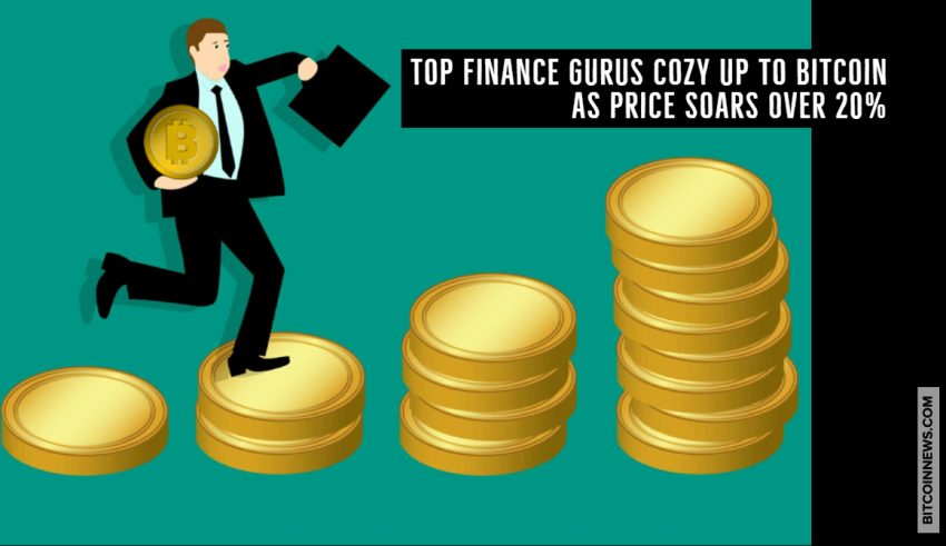 Top Finance Gurus Cozy Up to Bitcoin as Price Soars Over 20%