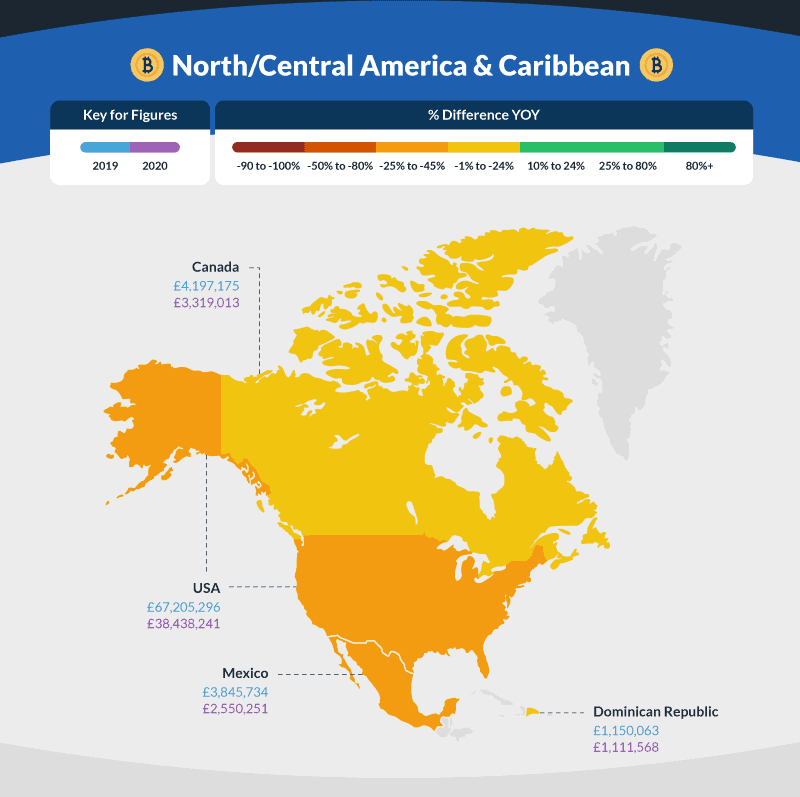North/Central America & Caribbean Bitcoin trading map