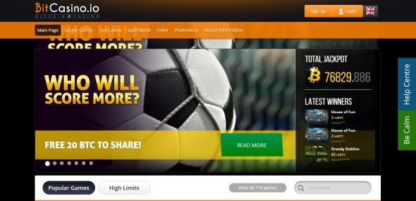 Bitcasino Football Screenshot