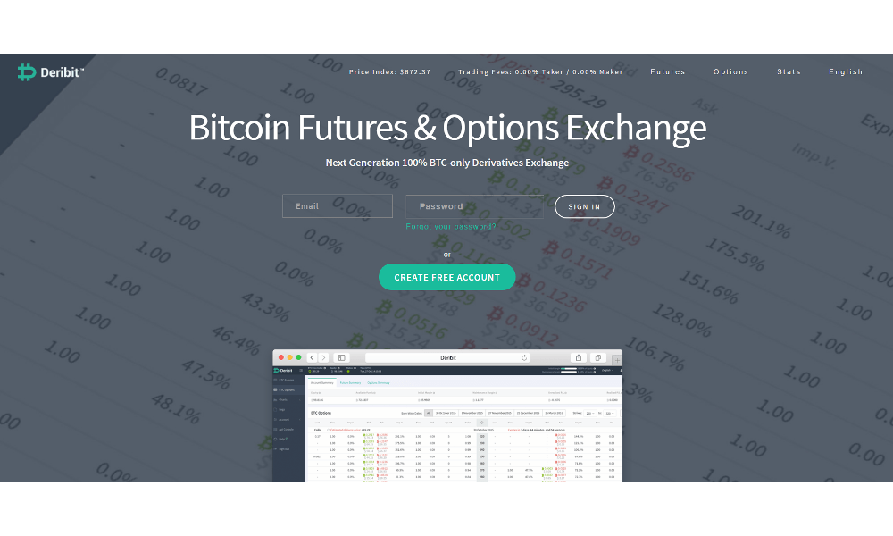 Bitcoin Futures and options Exchange 'Deribit' Announces Zero-fee Trading