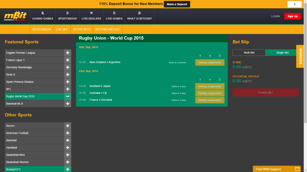 Match based betting is available for a few days in advance