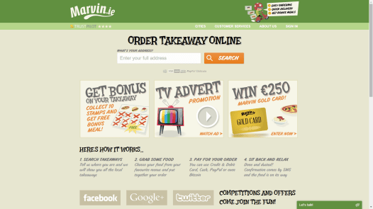 Bitcoin accepting takeaway service Marvin.ie